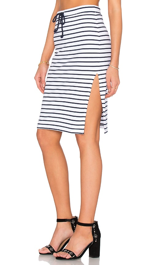 Bobi Cashmere Terry Stripe Tie Front Pencil Skirt in White