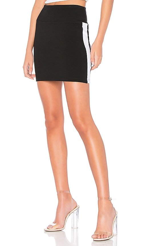 Bobi Athleisure Jersey Mini Skirt in Black & White