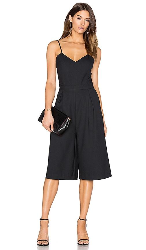 BLACK Woven Crepe Culottes Jumpsuit