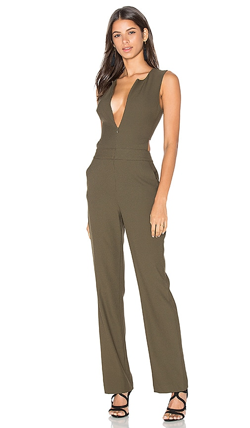 cfdda84523cc Bobi BLACK Woven Crepe Sleeveless Side Cut Out Jumpsuit in Olive ...