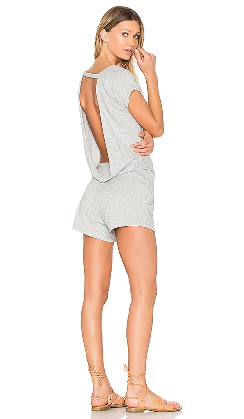 Bobi Supreme Jersey Drape Back Romper in Gray