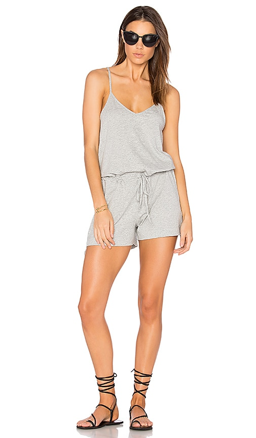 e0e8171ca10c Bobi Supreme Jersey Tie Front V Neck Romper in Heather Grey