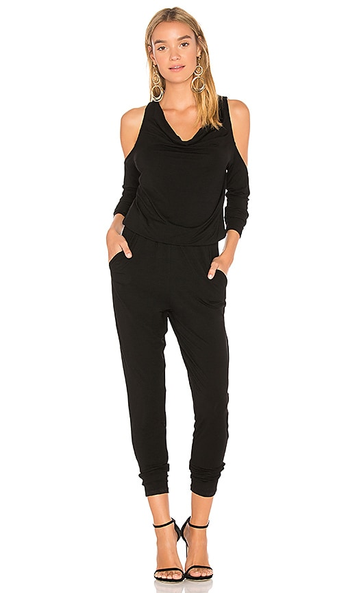 Black Cold Shoulder Jumpsuit by Bobi