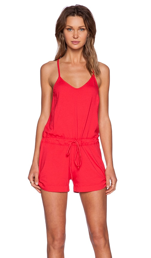 834ede2e7345 Bobi Supreme Jersey V Neck Romper in Light Raspberry
