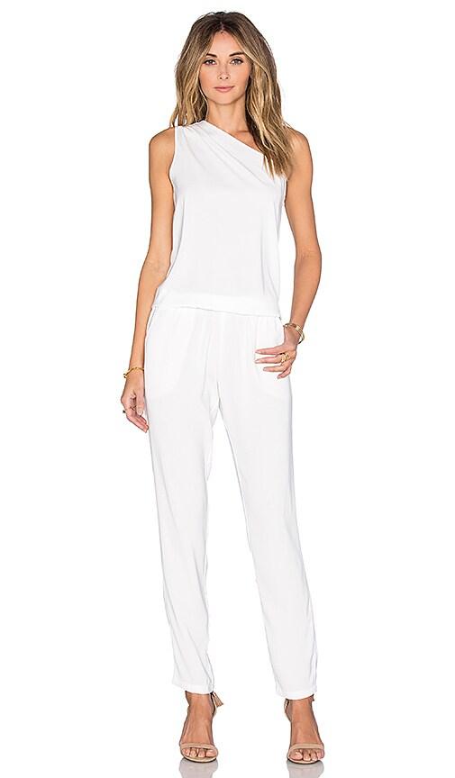 2ab2ba9b5267 Bobi BLACK Georgette One Shoulder Jumpsuit in White
