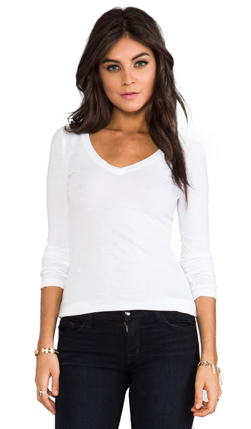 Light Weight Jersey V Neck Long Sleeve