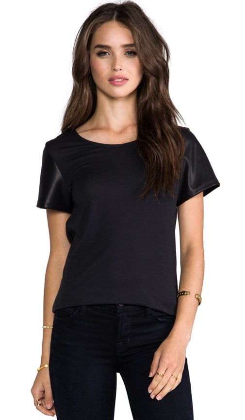 Vegan Leather Sleeve Tee