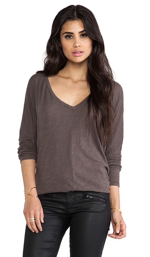 Cotton Slub V Neck Dolman