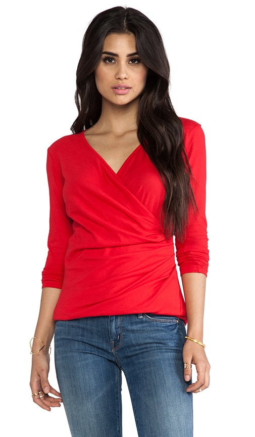 Light Weight Jersey Long Sleeve Wrap Tee
