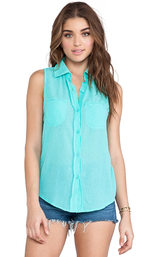 Gauze Button Down Tank