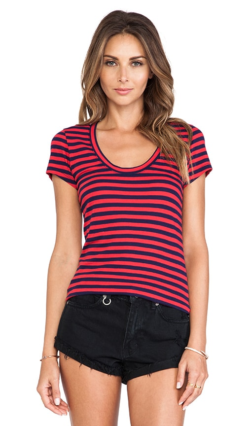 Light Weight Jersey Striped Cap Sleeve Tee