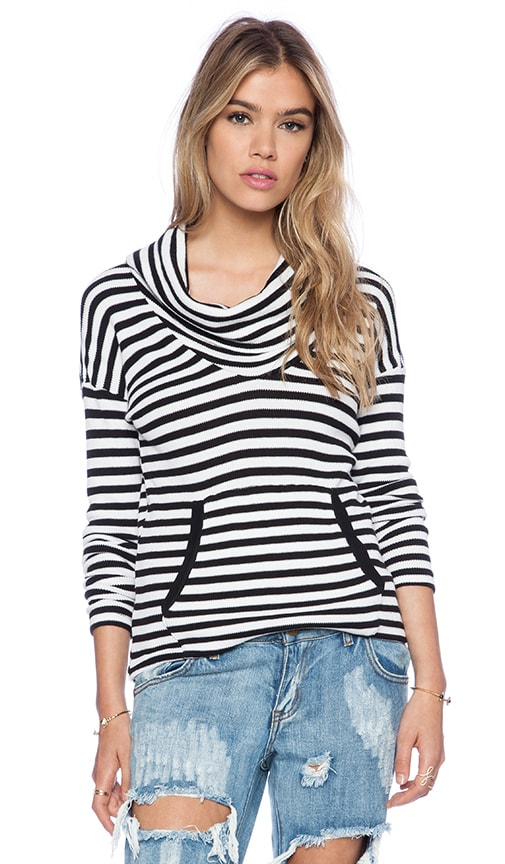 Striped Thermal Cowl Neck Long Sleeve Tee