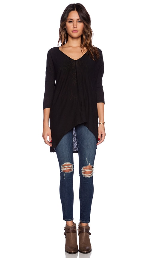 Bobi Cotton Slub Dolman 3/4 Sleeve Tunic in Black