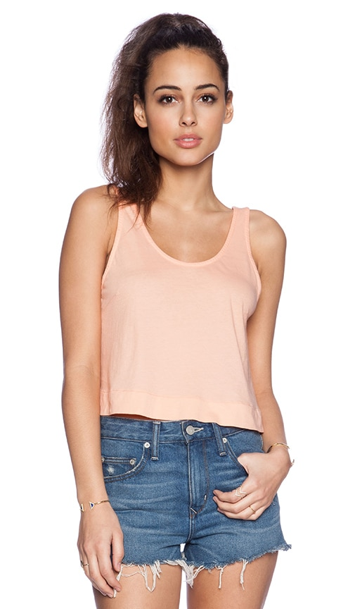 Bobi Light Weight Jersey Crop Swing Tank in Peachy