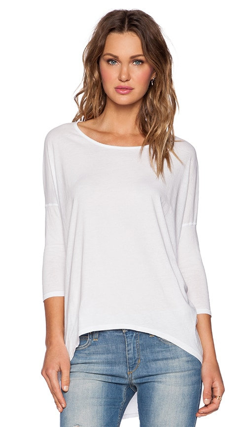 Bobi Light Weight Jersey 3/4 Sleeve Tee in White