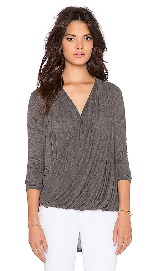 Bobi Tissue Jersey Surplice Front Long Sleeve Tee in Gray