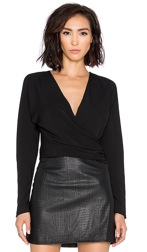Bobi BLACK Georgette Long Sleeve Wrap Crop Top in Black