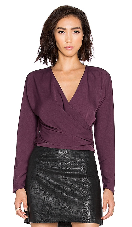 Bobi BLACK Georgette Long Sleeve Wrap Crop Top in Purple