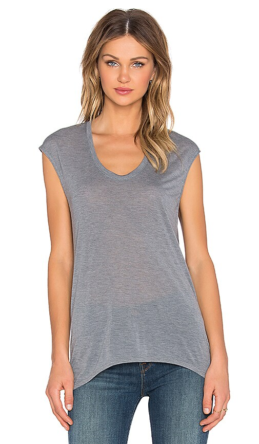 Bobi Tissue Jersey Drape Back Top in Mid Grey