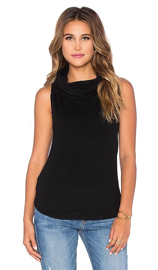 Bobi Cuddly Knit Cowl Neck Tank Top in Black