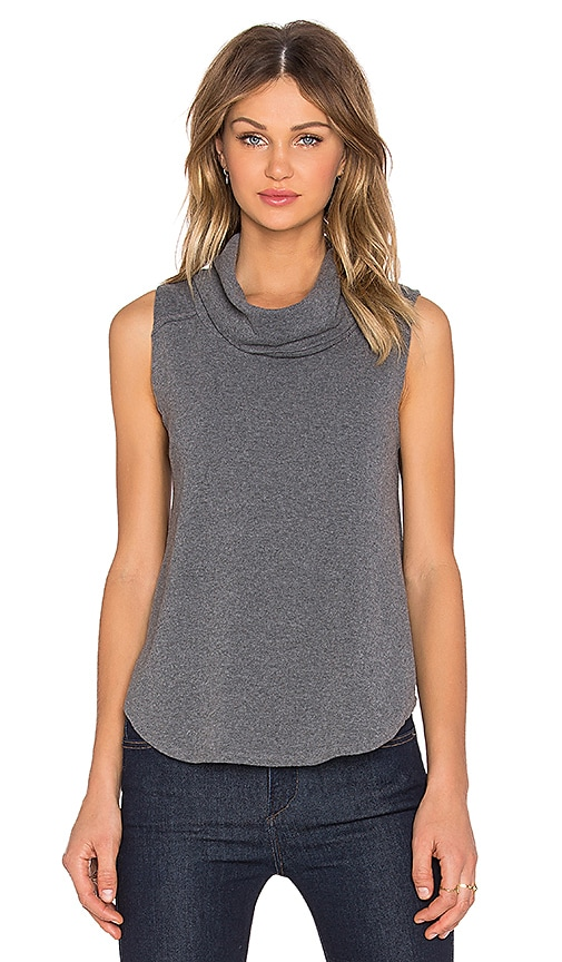 Bobi Cuddly Knit Cowl Neck Tank Top in Grey