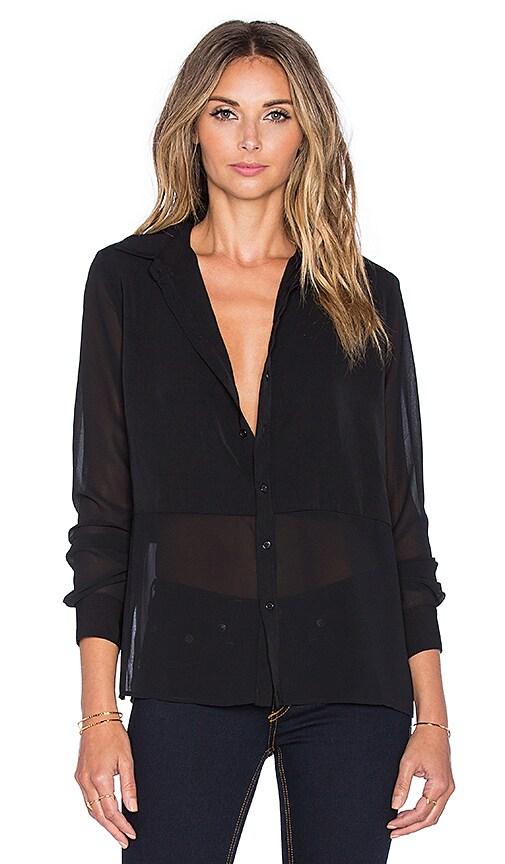 Bobi BLACK Georgette Sheer Blouse in Black