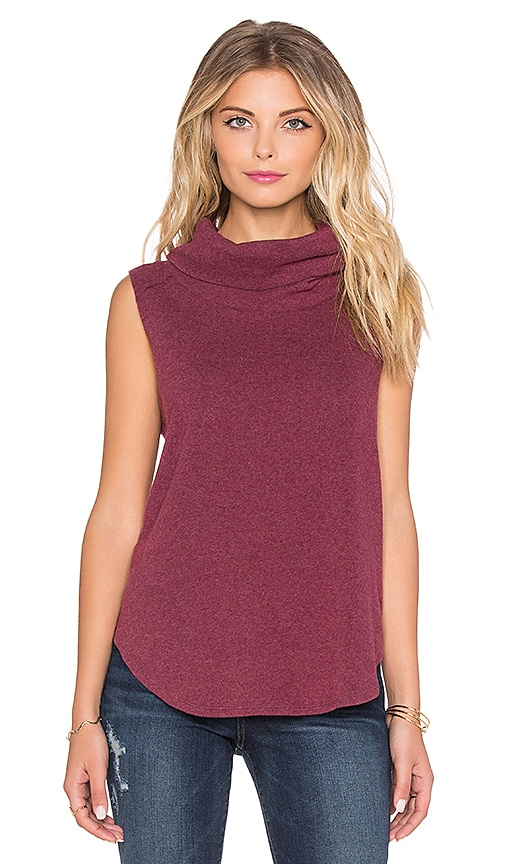 Bobi Cuddly Knit Cowl Neck Tank Top in Wine