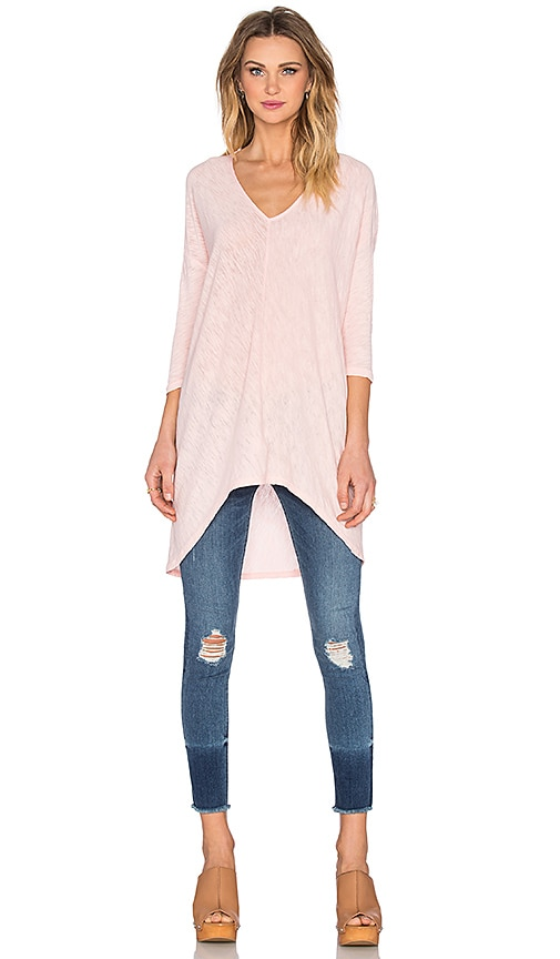 Bobi Cotton Slub V-Neck Dolman Long Sleeve Tee in Bae