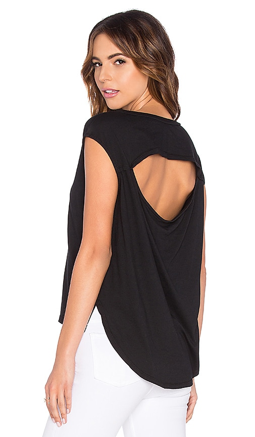 Bobi Lightweight Jersey Drape Back Cut Out Tee in Black
