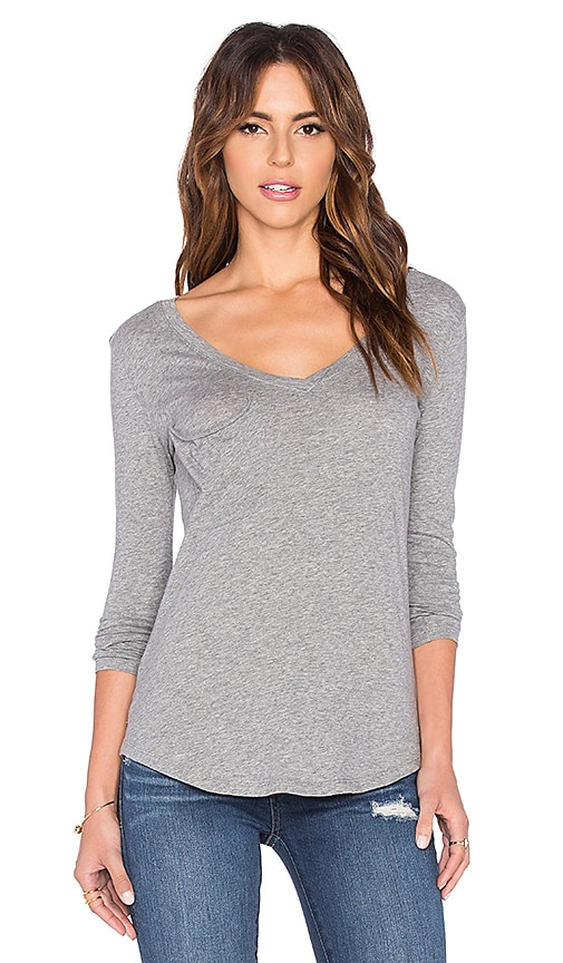 Lightweight Jersey Long Sleeve V-Neck Pocket Tee