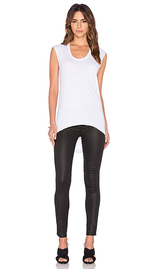 Bobi Lightweight Jersey Drape Back Tee in White