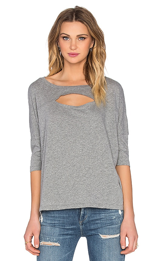 Bobi Lightweight Jersey Cut Out Dolman Tee in Thunder