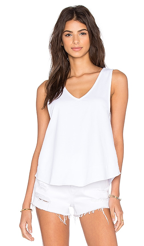 Bobi Lightweight Cashmere Terry Strappy V-Neck Tank in White