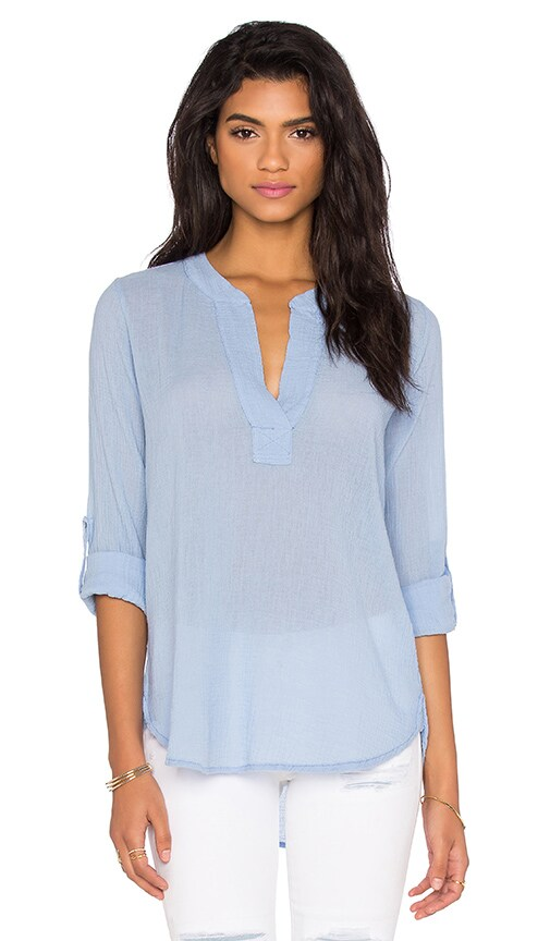 Bobi Gauze V Neck 3/4 Sleeve Top in Frozen