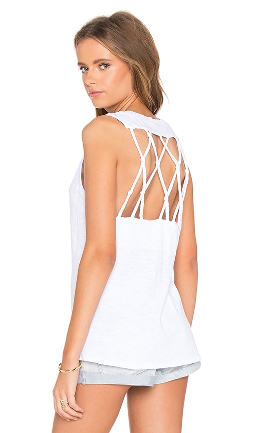 Bobi Slubbed Jersey Open Back Tank in White