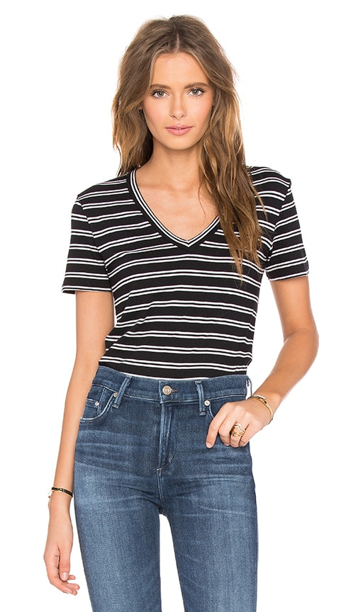 Bobi Double Stripe Jersey V Neck Tee in Black