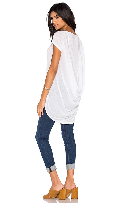 Bobi Tissue Jersey Scoop Back Short Sleeve Top in White