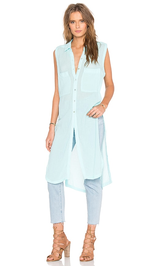 Bobi Gauze Button Up Sleeveless Mini Dress in Turquoise