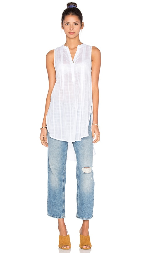 Bobi Plaid Woven Stripe Tank in White
