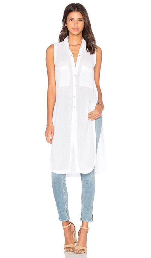 Bobi Gauze Button Up Sleeveless Mini Dress in White