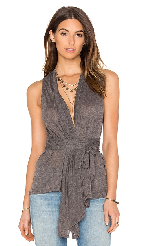 Bobi Tissue Jersey Cross Front Tie Waist Tank in Charcoal