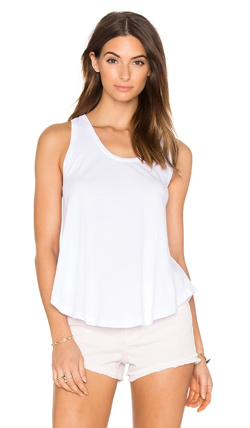 Bobi Light Weight Jersey Scoop Neck Tank in White