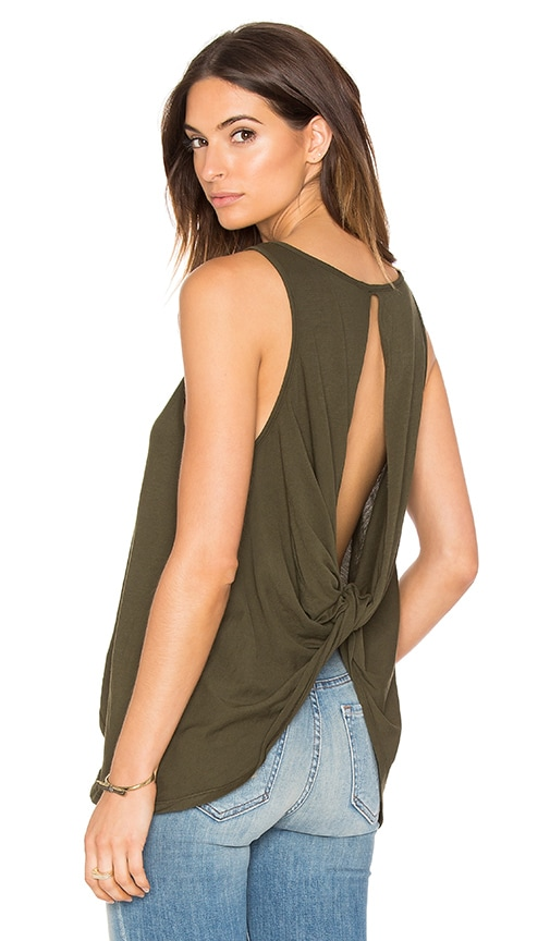 Bobi Light Weight Jersey Open Back Scoop Neck Tank in Olive