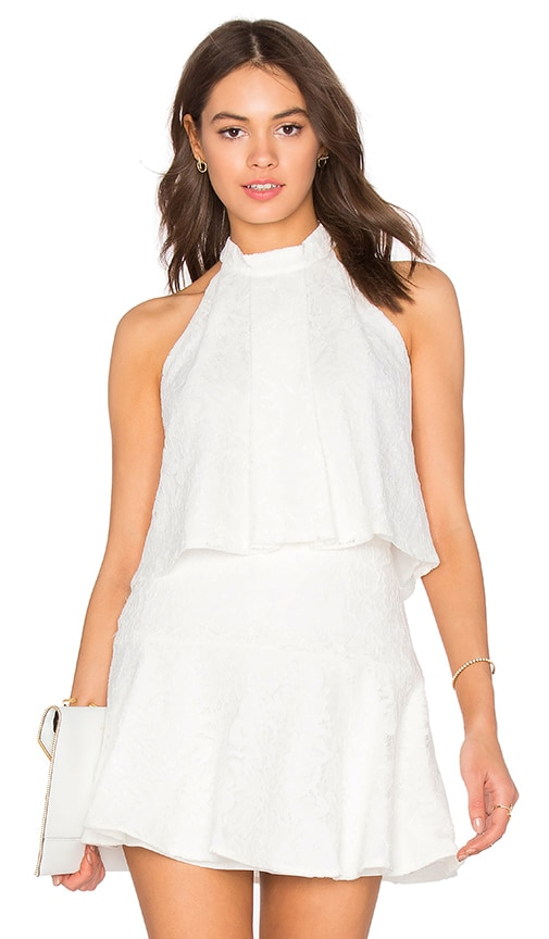 Bobi BLACK Mixed Chiffon Lace Tank in White