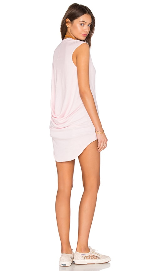 Bobi Light Weight Jersey Hi Low Scoop Neck Tank in Pink