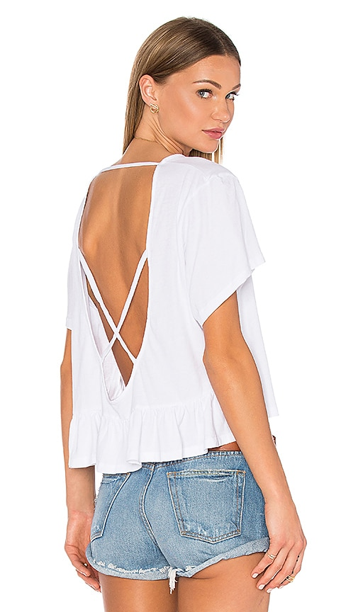 Bobi Light Weight Open Cross Back Tee in White