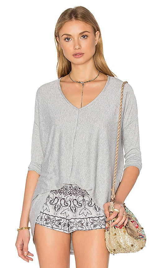 Bobi Knit Gauze 3/4 Sleeve Top in Grey