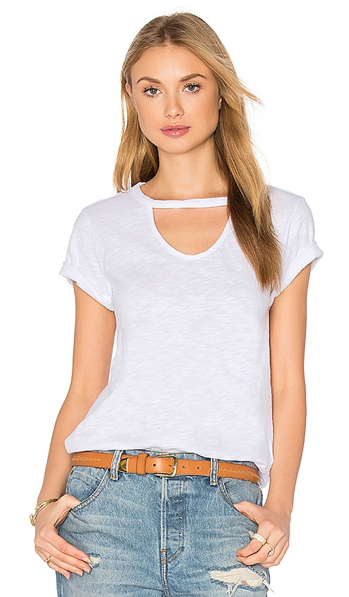 Bobi Slubbed Jersey Cut Out Tee in White