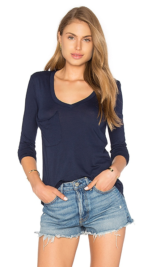 Bobi Light Weight Jersey Front Pocket Long Sleeve Top in Navy