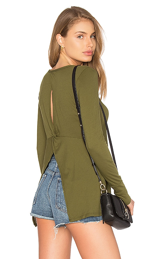 Bobi Light Weight Jersey Open Back Long Sleeve Top in Green